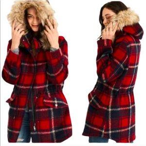 American Eagle red plaid winter coat w hood